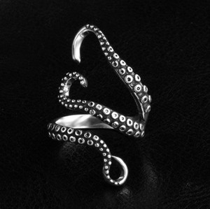 Wholesale Punk Rock Mens Rings Resizable devilfish Rings Vintage Gothic Jewelry Silver Gold Men Ring
