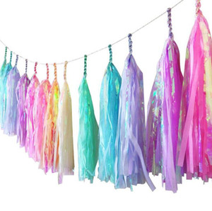 Wholesale Unicorn Candy Iridescent Tassel Garland Rainbow Banner Bunting Wedding Birthday Baby Shower Party DIY Hanging Decor atmosphere colors