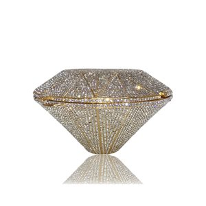 Women's Bags The diamond shape Alloy Evening Bag Crystals Geometric Pattern Gold   Silver Wedding Party Clutch bag Purse Handbag