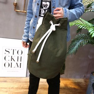 Wholesale 2019 Men Drawstring Backpack Canvas Casual Large Capacity Sport Outdoor Backpack Back Pack Army Green Black Color Travel Bags