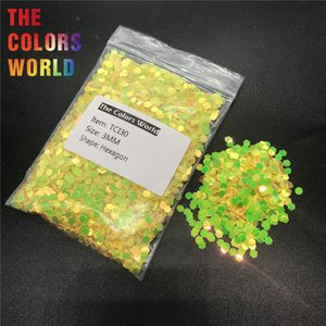 Wholesale TCI30 Pearlescent Iridescent Yellow Color With Gold Light Hexagon Shape Nail Glitter Nail Art Design Henna DIY Cup Decoration