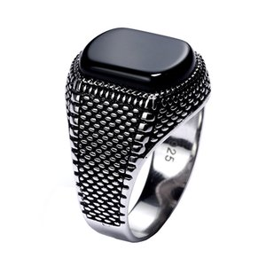 Wholesale Turkey Jewelry Black Ring Men Light weight g Real Sterling Silver Mens Rings Natural Onyx Stone Vintage Cool Fashion
