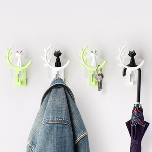 Wholesale Cute Cat Tree Modelling Self Adhesive Clothing Display Racks Hook Coat Hanger Cap Room Decor Show Wall Bag Keys Sticky Holder