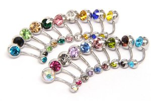 Wholesale belly buttons for sale - Group buy New L Surgical Steel navel rings Crystal Rhinestone Belly Button Navel Bar Ring Body Jewelry Piercing WCW640