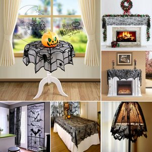 Wholesale Halloween Black Lace Spider Curtain Web Topper Lamp Shades Fireplace Mantle Scarf Cover