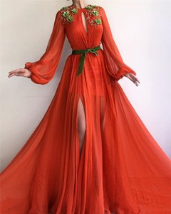 Wholesale New Design Prom Dresses Chiffon A Line Jewel Neck Full Sleeves Lace Appliques Long Evening Dress Floor Length Gowns robe de soiree