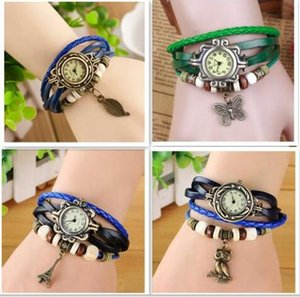 Wholesale Popular Mixed Style Vintage Weave Wrap Around Charm Bead Leather Bracelet Leaf Butterfly Eiffel Tower Heart Wings owl dolphin Quartz Watch