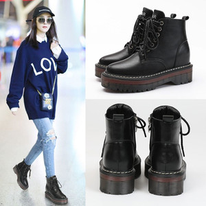 Wholesale Best Selling Designer Women Boots CM Chunky Heels Round Toe Platform Martin Winter Shoes Waterproof Cheap Black Ankle Warm Boot