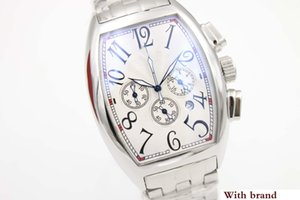 Hot Sale Frank Quartz Watch Men Chronograph White Big Dial Stainless Band Sport Watch Montre Homme