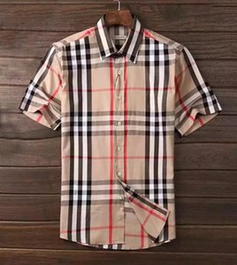 Wholesale BBR rainbow check short-sleeved super popular men's shirt Camisa& summer fashion business dress men's shirt Medusa Casua#001#00l