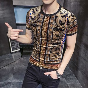 Wholesale Men T Shirt Han Edition Cultivate Morality Men With Short Sleeves Printed Web Leopard Print Short Wave B333 P45 J190430