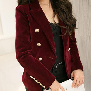2017 Spring and Autumn new Slim gold velvet small suit jacket female leisure blazer