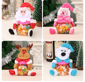 Merry Christmas Candy Jar Lucky Xmas Santa Claus  Snowman Elk Bear Pattern Sugar Stockings Gift Box New Year Home Decor
