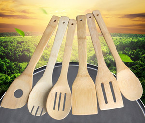 Wholesale Bamboo spoon spatula Styles Portable Wooden Utensil Kitchen Cooking Turners Slotted Mixing Holder Shovels JXW181