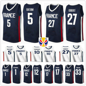 2019 World Cup Team France Basketball Jersey Frank Ntilikina 1 Nicolas Batum 5 Rudy Gobert 27 Evan Fournier 10 Nando De Cole 12 Amath Mbaye