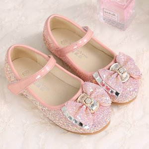 Wholesale Kids Girls Wedding Shoes Flat bottom Dress Shoes Children Princess Sandals Bow tie Blue For Girls White Pink Dance