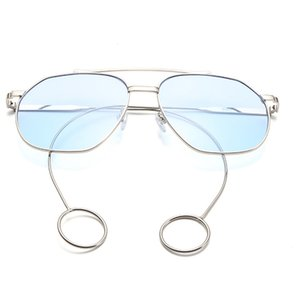 Unisex Summer Beach Wear Fashion metal Frame Earrings Sunglasses Men Women Sea Lenses Flat Mirror For Female Male