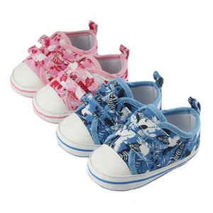Wholesale Toddler First Walker Floral Shoes Newborn Baby Boys Girls Cute Infant Baby Canvas Prewalker Trainers Printing Shoes