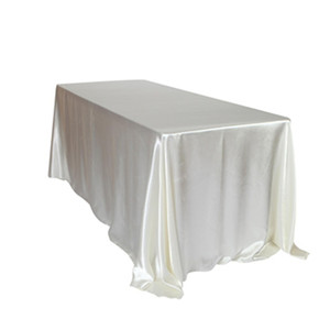 Wholesale 145x320cm White Black Tablecloths Table Cover Rectangular Satin Tablecloth for Wedding Birthday Party Hotel Banquet Decoration
