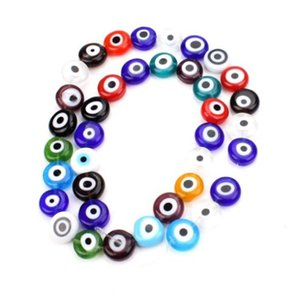 ingrosso male perle in resina occhio-300pcs EVIL EYE Kabbalah Luck Resin Spacer Beads Perline sfuse per Monili Che Fanno x5mm