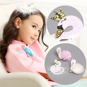 Wholesale baby Barrettes Glitter White Swan Hair Clips Crown Barrette with feather Princess Hairpins Baby Children Kids Hair Accessories