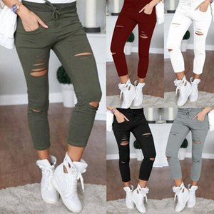 Wholesale Plus Size XL Fashion Women Casual Holes Destroyed Knee Skinny Pencil Trousers Black White Stretch Ripped Pants SH190702