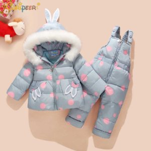 Wholesale Russian Winter Suit for Children Baby Girsl Duck Down Jacket and Pants Warm Clothing Sets Thermal Kids Clothes Snow Wear