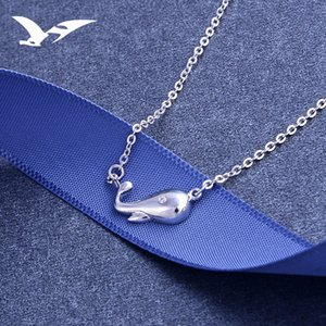Wholesale S925 pure silver necklace simple European American dolphin pendant lady clavicle chain fashion small fresh accessories