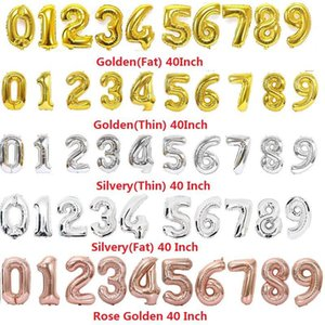 2020 40 Inch Helium Air Balloon fly up Number Shaped Gold Silver Rose Inflatable Ballons Birthday Wedding Decoration Event Party L192