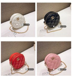 Fashion Embroidery Line Small Fragrance Wind Round Children's Girls One-shoulder Slanted Mini Bag