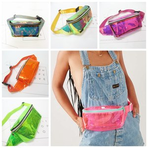 Wholesale 5styles Laser transparent waist bag Women Girls Hologram Coin Purse clear phone waist belt Holder Purse summer beach fanny pack FFA2047