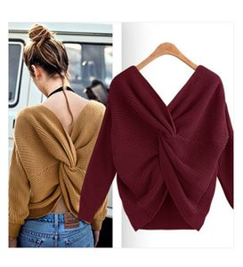 Wholesale New women s V neck sweater with open back and irregular cross knotting back twist loose fit knit top