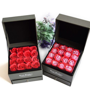 Wholesale Valentine s Day Square Drawer Creative Jewelry Necklace Box Wooden Double Wool Everlasting Flower Gift Box