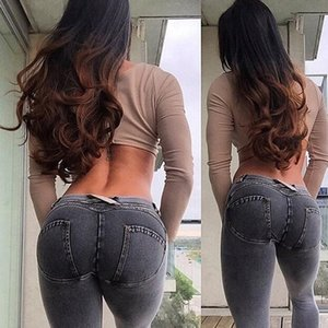 Wholesale Fashion Women Solid Push Up Blue Sexy Denim Jeans Full Hip Skinny High Waist Stretch Jeans For Female Fashion Slim Pencil Pants MX190714