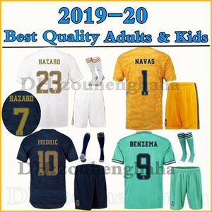 2019 2020 Camiseta Real Madrid HAZARD kids soccer jersey kits 19 20 home away 3rd MARCELO SERGIO RAMOS KROOS BENZEMA Adult maillots Traje on Sale