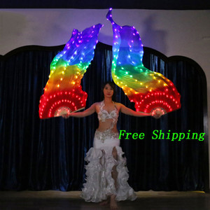 LED Rainbow Fan Veil Belly Dance Accessories Fan Veil Belly Dance Carnival Prop Professional Stage Accessories