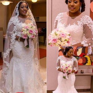 mermaid African Plus Size wedding dresses traditional Nigeria Fashion Sheer Neck Long Sleeves Arabic Wedding Gowns Shape Button Back Best on Sale