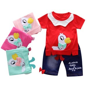 Wholesale Hillsionly Children Set Toddler Baby Girls Cartoon Duck Tops Bow Letter Pants Trousers Outfits Clothes roupa infantil
