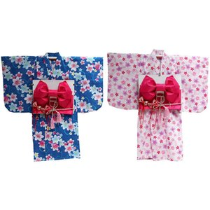 Wholesale Children Japanese Traditional Costumes Kimono Dress Bathing Robe Yukata for Kids Girls Dance Wear Cosplay Floaral Dress Z939
