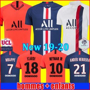 Maillots de foot 19 20 PSG soccer jersey 2019 2020 Paris MBAPPE MARQUINHOS GANA jersey camisetas football kit shirt men kids goalkeeper sets on Sale
