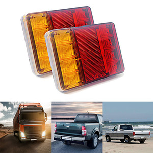2Pcs Car Rear Tail Light 8 LED Warning Lights Reverse Indicator Waterproof Tail Rear Lamps for Boat Caravan Truck UTE Trailer
