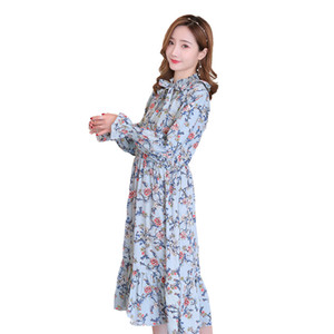 2019 Maternity Long Flare Sleeve Floral Chiffon Dress Plus Size Bow Collar High Waist Fashion Printing Trumpet mermaid Dress