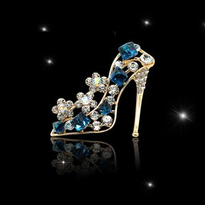 High Grade Rhinestone Women Designer Brooches for Wedding Fashion Dress Pin Brooch Crystal High-heeled Shoes Pin Brooch Hot Sale