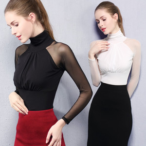 Wholesale Latin Dance Practice Clothes Female Adult Long Sleeve Mesh Shirt Latin Dance Tops Women Modern Ballroom Costumes VO171