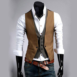 Wholesale Mens Vest Formal Business Casual Winter Suit Tuxedo Layered Style Slim Fitted Waistcoat Vest
