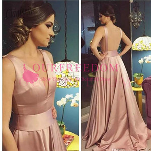 Wholesale 2020 Sexy Deep V-Neck A-Line Prom Dresses Rose Gold Backless Court Train Long Special Occasion Party Gowns Simple Evening Dress