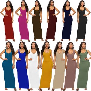 Women Solid Color Spaghetti Sexy Long Tank Dress Summer Maxi Dresses Sleeveless Bodycon Beach Travel Party Dress Night Skirt 2019 A32001