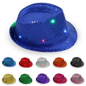 Wholesale LED Jazz Hats Flashing Light Up Fedora Caps Sequin Cap Fancy Dress Dance Party Hats Unisex Hip Hop Lamp Luminous Cap GGA2564