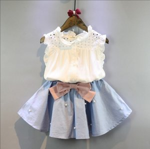 Girls Summer Suit Hollowed Shirt Dress with Beads Bow Baby Girls Outfits Girls Two-piece Clothing Sets 2-7T on Sale