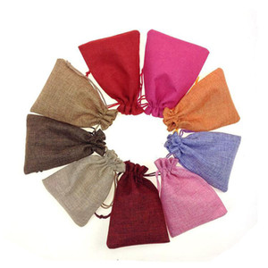 Wholesale 50pcs x9cm Fabric Cotton Linen Drawstring Pouch Bag Packaging Burlap Bag Wedding Birthday Party Cute Gift Bags
